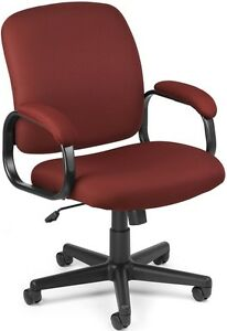 Executive Low back Medical Office Task Chair Wine Fabric Arm Doctor Chair