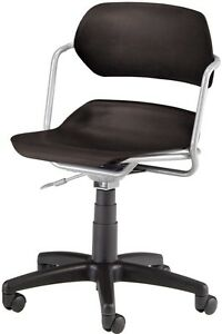 Medical Office Contour Plastic Task Chair W arm Black Seat Clinic Office Chair
