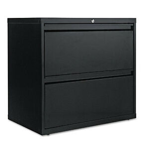 Alera Two drawer Lateral File Cabinet 30w X 19d X 28 3 8h Black Alelf3029bl
