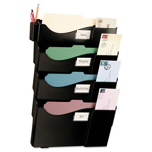 Officemate Grande Wall Filing System 4 Pockets 16 5 8 X 4 3 4 X 23 1 4 Black