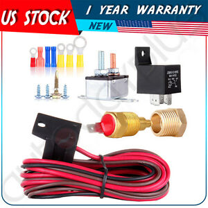 Car 185 200 Degree Engine Cooling Fan Thermostat Temp Switch Sensor Relay Kit