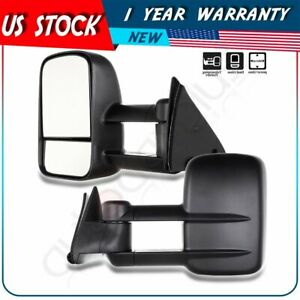 Power Tow Mirror For 88 98 Chevy C K 1500 2500 3500 Side Vew Towing Mirrors Pair