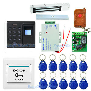 Diy Full Fingerprint rfid password Keypad Door Access Control Kits psu mag Lock
