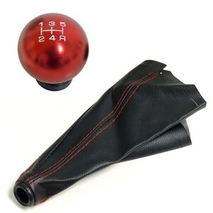 Red Round Billet Racing Shift Knob Boot Combo For Subaru 5 Speed Mt