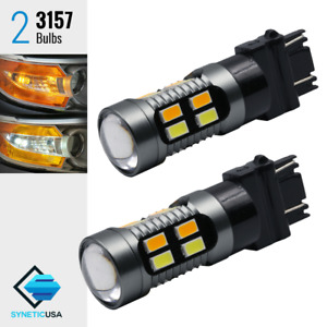 2x 3157 Dual Color Switchback 5630 Led White Amber Turn Signal Projector Lights
