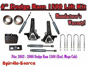 2002 2008 Dodge Ram 1500 2wd 6 Front 4 Rear Spindle Coil Block Lift Shocks