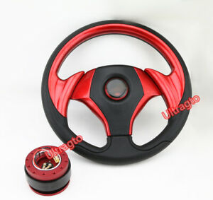 Universal Red 320mm Pvc Jdm 6 Bolt Steering Wheel Horn Button Quick Release