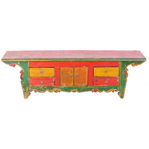 Antique Asian Chinese 63 W 13 T Colorful Low Kang Table Cabinet W Carvings