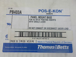 New Surplus Thomas And Betts Pb403a Panel Mount Base For A3 Or D7 Box Of 13