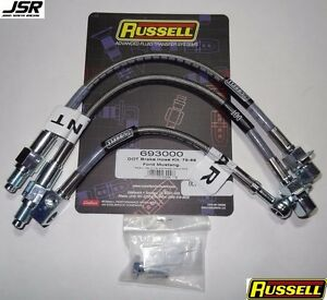 79 86 Mustang Gt Or Lx Russell Stainless Steel Brake Line Kit 2 Front 1 Rear
