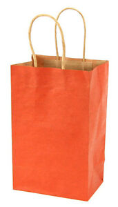 Case Of 100 Small Burnt Orange Kraft Shopping Bags 5 25 X 3 25 X 8 38