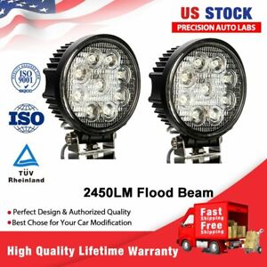 2pcs 5inch 27w Round Led Work Light Bar Spot Flood Offroad Driving Fog Lamp 12v