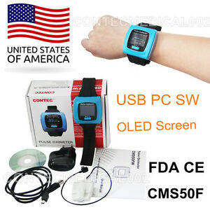 Contec Cms50f Wrist Pulse Oximeter Oled Usb Pc Software Alarm 24h Record