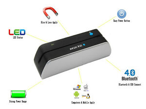 Iphone Android Bluetooth Mag Swipe Encoder Credit Card Reader Writer Msrx6 bt