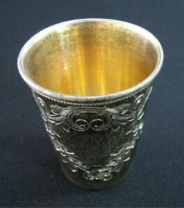 Russian Imperial Silver Cup Goblet Marked 84 Hallmark Russia Floral Motif