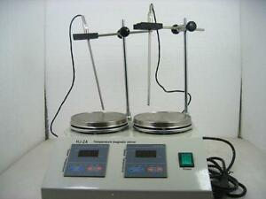 2 Units Heads Multi unit Digital Thermostatic Magnetic Stirrer Hotplate Mixer