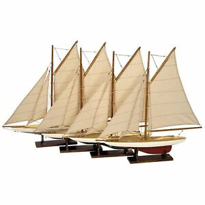 Authentic Models Mini Pond Sailboats Built Wooden Yachts Set Of 4 Assembled