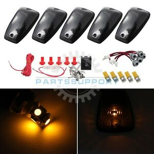 Smoked Cab Lights Marker Roof Top Amber Led Bulb Wiring For 88 95 G2500 G3500
