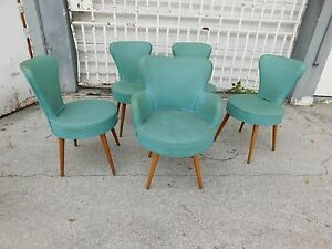 5 Funky 1940 S Art Deco Art Moderne Dining Chairs Sold As Found P