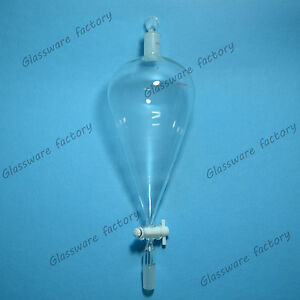 Glass Pear Shape Separatory Funnel 2000ml 24 40 ptfe Stopcock both Ground Joints