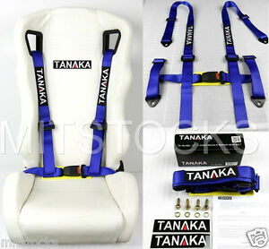 1 Tanaka Universal Blue 4 Point Buckle Racing Seat Belt Harness 2