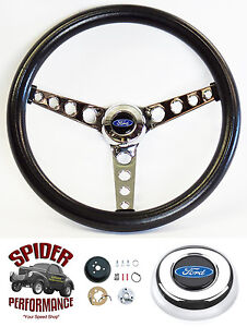 1978 1991 Bronco Ford Pickup Steering Wheel Blue Oval 14 1 2 Classic Chrome