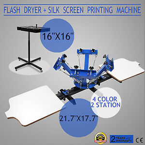 Screen Printing 4 Color 2 Station Press Kit Diy Printer Flash Dryer Tools