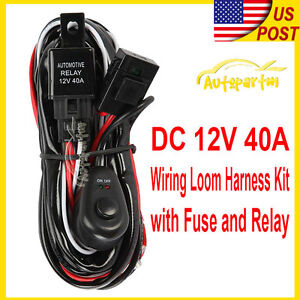 Universal Led Fog Light Driving Lamp Wiring Harness Fuse Switch Relay Wiring Kit