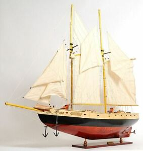 Bluenose Ii Schooner Sailboat 47 Built Wooden Model Painted Ship Assembled