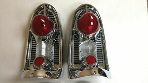 1956 Chevy Belair 210 150 Tail Light Chrome Bezel Assembly Pair Made In The Usa