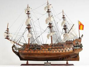 San Felipe Spanish Armada Galleon Tall Ship 28 Wood Model Sailboat Assembled