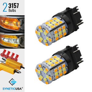 2x 3157 Dual Color Switchback White Amber Led Turn Signal Light Bulbs W Resistor