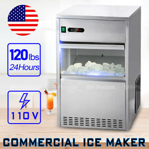 Commercial 120lbs 24h Restaurant Ice Maker Machine Auto Electric Nugget Party