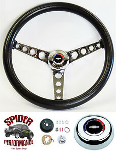 1969 1973 Chevelle Steering Wheel Red White Blue Bowtie 14 1 2 Classic Chrome