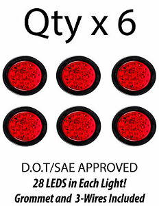 4 Inch Red 28 Led Round Stop turn tail Truck Light With Grommet