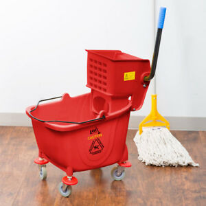 Red 36 Quart Plastic Mop Bucket With Wheels And Side press Wringer Combo