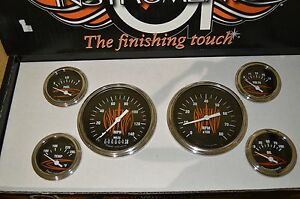 Classic Instruments Hot Rod Series Von Hot Rod Orange Pinstriped Set 1 Off Set