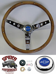 1969 1981 Camaro Steering Wheel Blue Bowtie 15 Classic Walnut