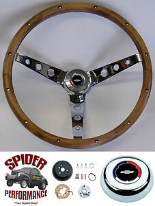 1967 Camaro Steering Wheel Red White Blue Bowtie 15 Classic Walnut