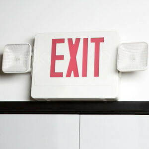 Exit Sign And Emergency Light Combination With Battery Backup 120v
