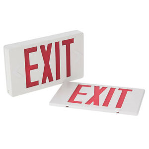 Lighted Exit Sign With Illuminated Double Face Red Letters And Battery Backup