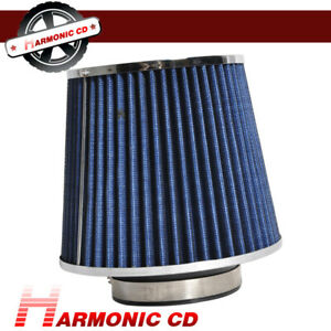 Air Filter Blue Chrome Inlet Car Cold Intake Round Cone High Flow Fits 3 Inch