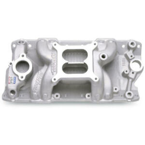 Edelbrock Intake Manifold 7501 Rpm Air Gap Dual Plane Satin Aluminum For Sbc