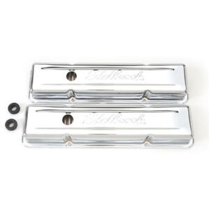 Edelbrock Valve Cover Set 4449 Signature Series Chrome Steel For Chevy Sbc