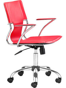 Modern Mid back Adjustable Height Office Chair In Red Leatherette
