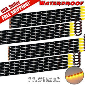 20x Amber Yellow 30cm 15 Led Car Motor Truck Flexible Strip Light Waterproof 12v