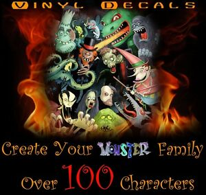 Create Monster S Family Vinyl Decal Sticker Car Window Zombies Skeletons Dracula