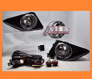 2009 2010 Toyota Corolla Chrome Clear Fog Light lamp Kit Wiring Switch