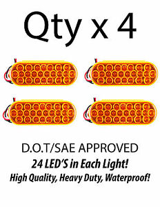 6 Inch Oval Amber 24 Led Turn Tail Clearance Signal Light Truck Trailer Qty 4