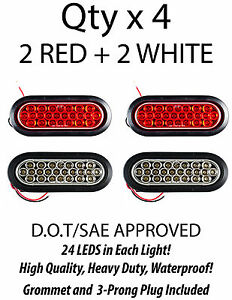 6 Inch Oval 24 Led Stop Turn Reverse Backup Tail Truck Light Kit 2 White 2 Red
